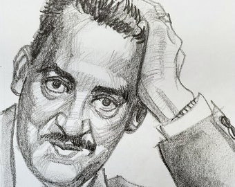 Thurgood Marshall, 9x12 inches, crayon on paper by Kenney Mencher