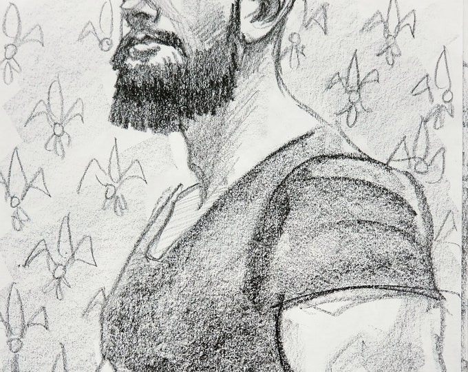 Tight Tee Shirt and a Beard, lithograph crayon on archival sketchbook paper, 9x12 inches by Kenney Mencher