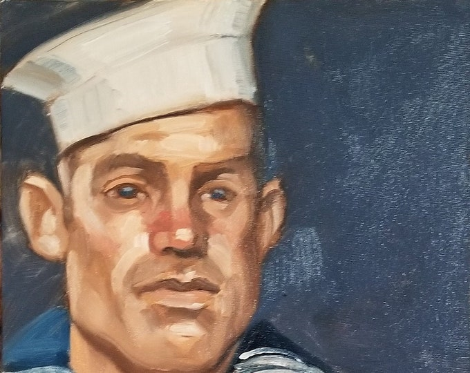 Sailor from 30s or 40s, oil on canvas panel, 11x14 inches by Kenney Mencher