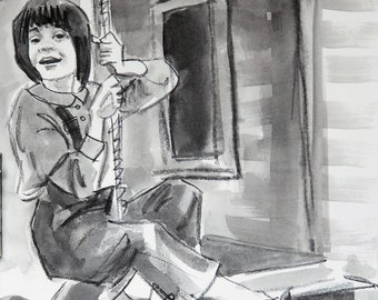 Scout on a Tire Swing,  watercolor on Rives BFK 11x14 inches by Kenney Mencher