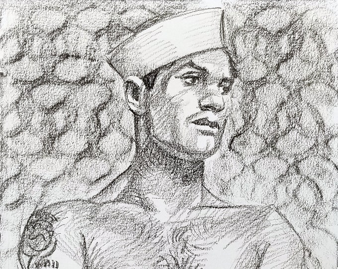 Retro Sailor, 9x12 inches crayon on paper by Kenney Mencher