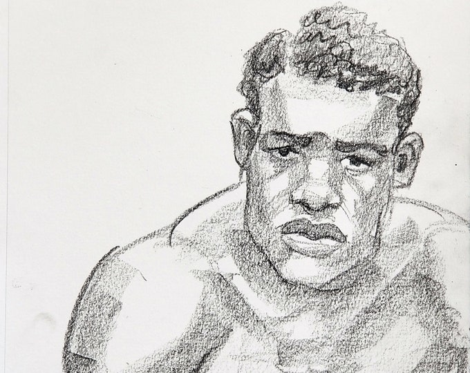 Beautiful Young Black Boxer, crayon on acid free sketchbook paper 9x12 inches by Kenney Mencher