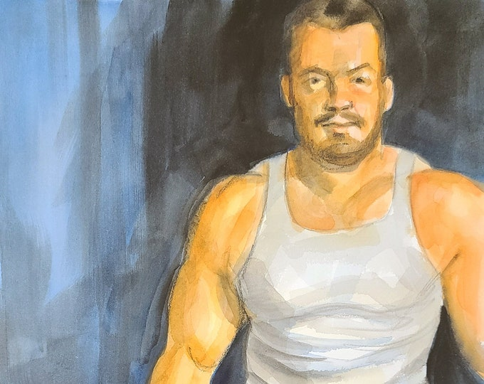 Handsome Husband, 11x14 inches watercolor on cotton paper by Kenney Mencher in collaboration with Vincent Keith