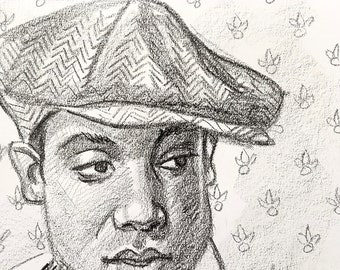 Handsome Young Black Man with a Flat Cap, Bow Tie and Suspenders, 9x12 inches crayon on paper by Kenney Mencher