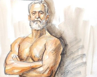 Nude Silver Fox, 11x14 inches watercolor on cotton paper by Kenney Mencher in collaboration with Vincent Keith