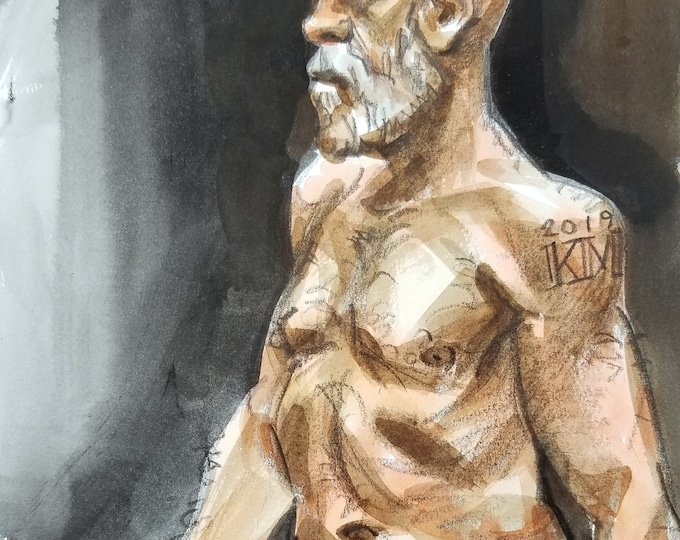 Mature Fighter, watercolor on Rives BFK, 9x12 inches by Kenney Mencher