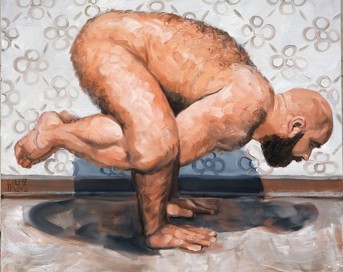 Yoga Bear, oil on stretched canvas 48x60 inches by Kenney Mencher