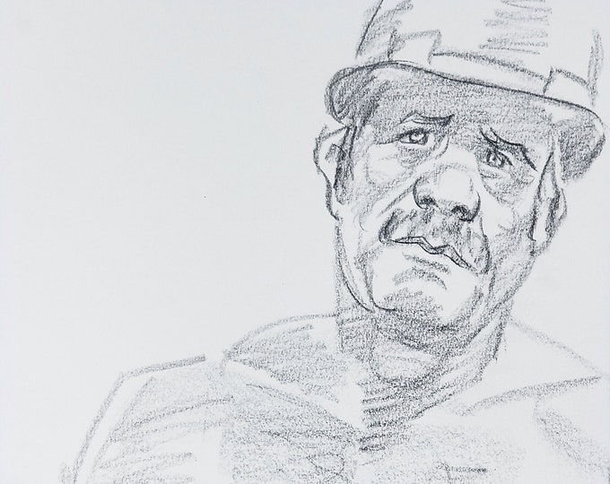 Mature Construction Worker, 9x12 inches crayon on Rives BFK by Kenney Mencher