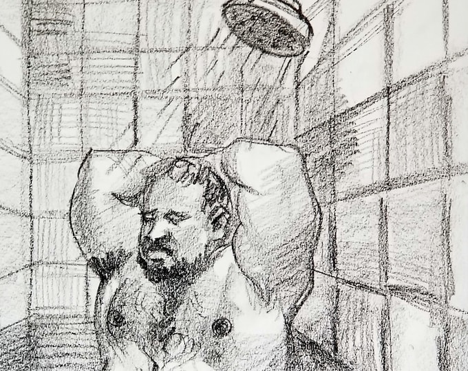 Shower Bear, crayon on sketchbook paper 11x14 inches by Kenney Mencher