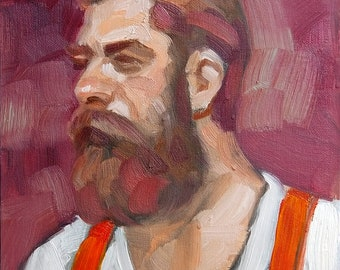 Otter in Red Suspenders and a White a T Shirt, oil on canvas panel 9x12 inches by Kenney Mencher