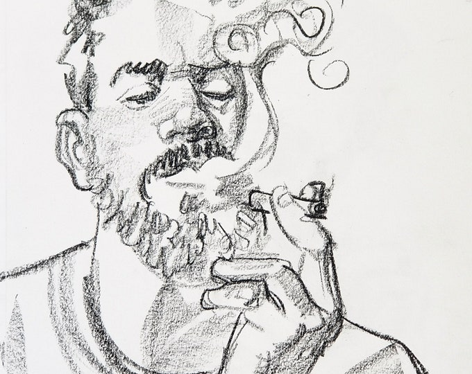Bearded Otter Smoking a Ciggy, crayon on acid free sketchbook paper 9x12 inches by Kenney Mencher