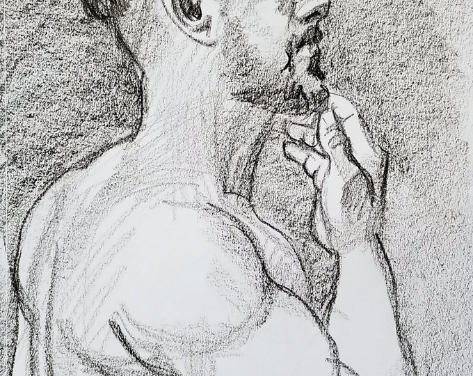 Shirtless Fade Otter, crayon on sketchbook paper 11x14 inches by Kenney Mencher