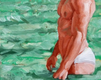 Bather,  oil on canvas panel, 11x14 inches by Kenney Mencher