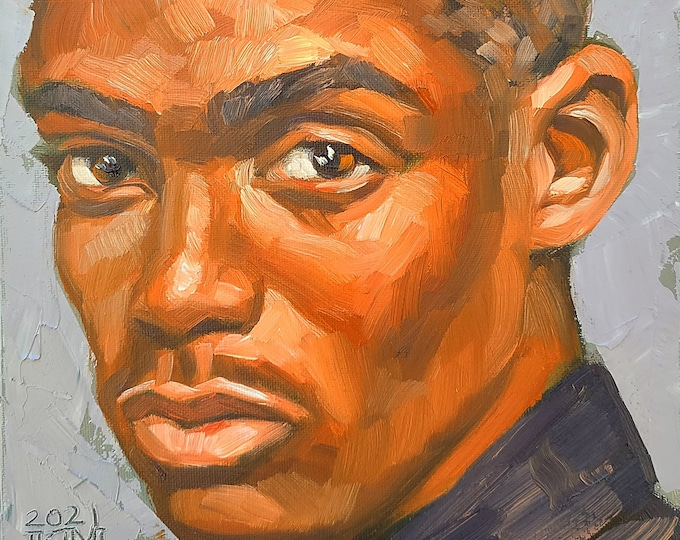 Handsome Young Black Man, 9x12 inches oil on canvas panel by Kenney Mencher