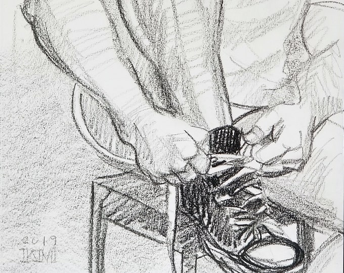 Chuck Taylors, crayon on sketchbook paper 11x14 inches by Kenney Mencher
