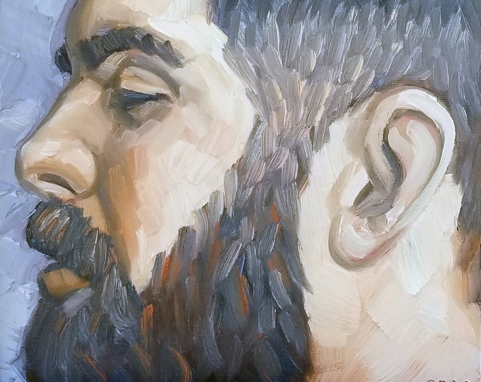 Fade Haired Cubby Beard, oil on canvas panel, 9x12 inches by Kenney Mencher