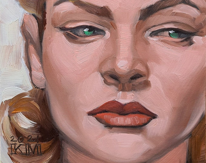 Lauren Bacall, 9x12 inches oil on canvas panel by Kenney Mencher