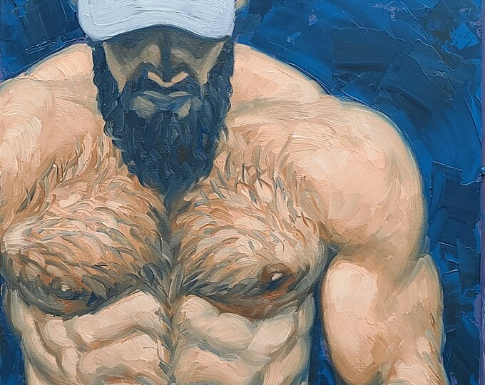 Tough Guy in a Baseball Cap, oil on canvas panel, 24x36 inches by Kenney Mencher