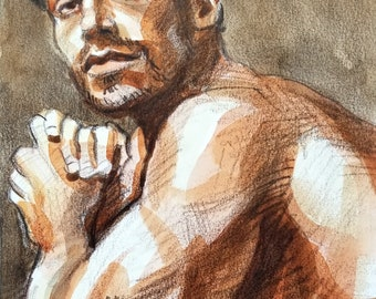 Handsome Guy with an Overdeveloped Sense of Pride, watercolor on Rives BFK 9x12 inches by Kenney Mencher
