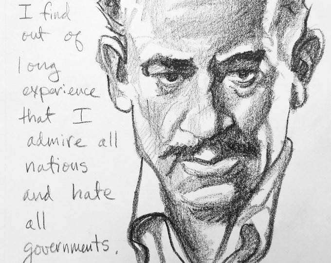 John Steinbeck, 9x12 inches, crayon on paper by Kenney Mencher