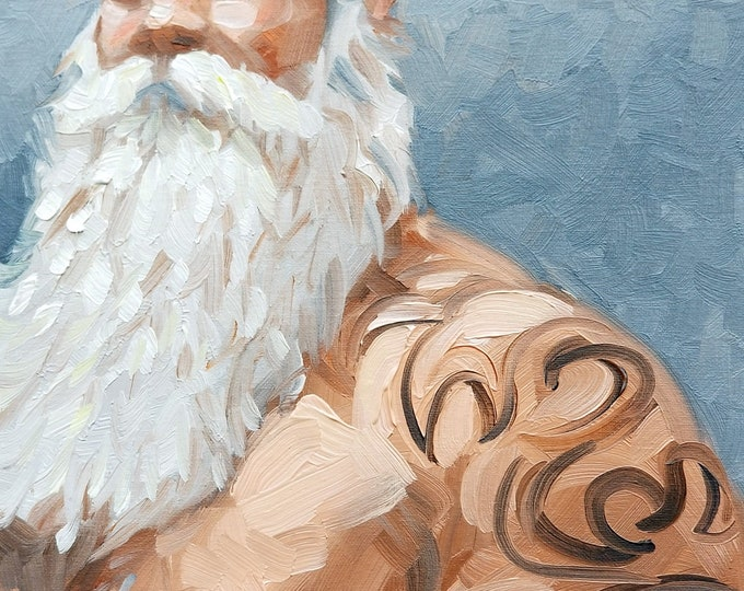 Tattooed Silver Fox, oil on canvas panel, 11x14 inches by Kenney Mencher