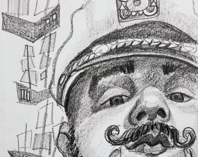 Captain Handlebar, 9x12 inches crayon on paper by Kenney Mencher