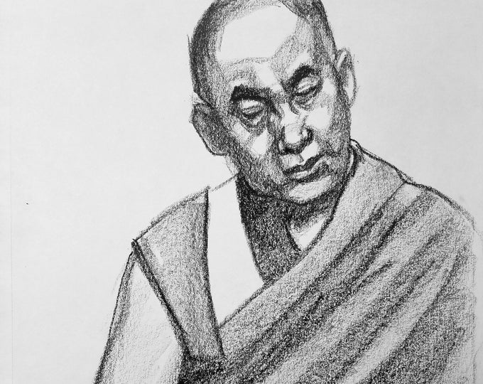 Dalai Lama, 9x12 inches,  crayon on paper by Kenney Mencher