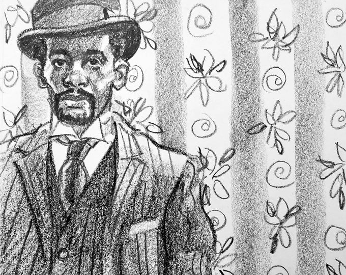 Dandy in a Bowler and Pin Striped Suit, 9x12 inches, crayon on paper by Kenney Mencher