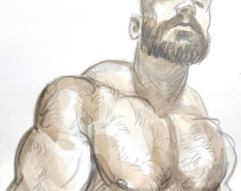 Large, Muscular, Shirtless, Hairy Bear, 10x10 inches graphite and watercolor on cotton paper by Kenney Mencher