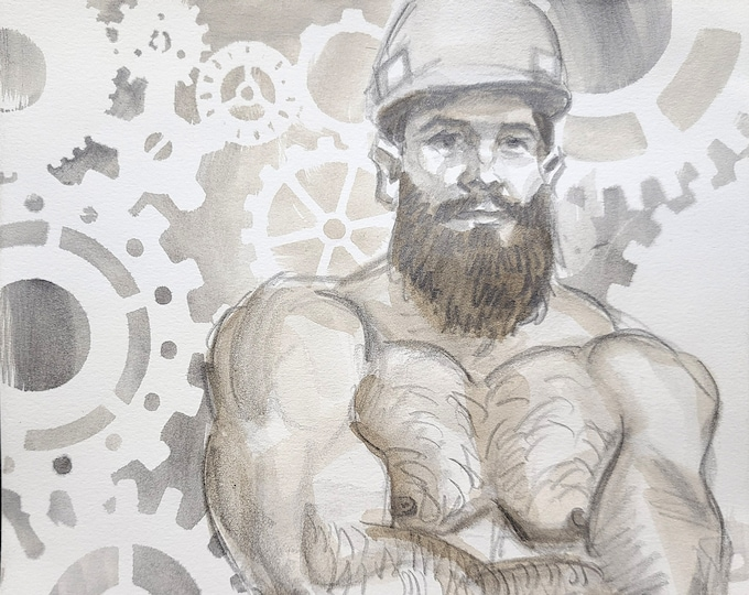 Bearded Construction Worker with Machinery, 10x10 inches graphite and watercolor on cotton paper by Kenney Mencher