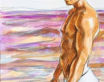 Bather,  watercolor on Rives BFK paper, 11x14 inches by Kenney Mencher