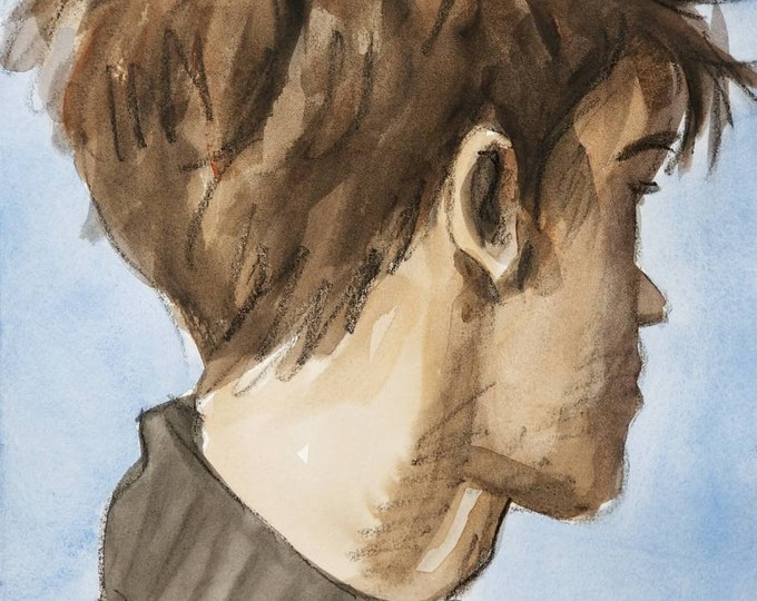 Three Quarters View of a Young Man's Head, 11x14 inches acrylic wash on Rives BFK paper by Kenney Mencher