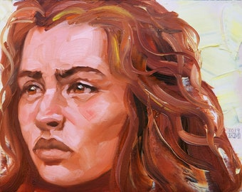 Fierce Cat Like Young Woman,  11x14 inches oil paint on canvas panel by Kenney Mencher