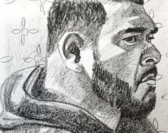 Beefy Man in a Hoodie, 9x12 inches, crayon on paper by Kenney Mencher