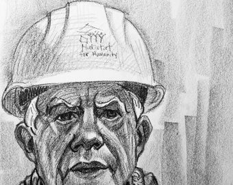Jimmy Carter, 9x12 inches, crayon on paper by Kenney Mencher