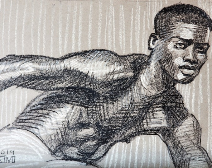 Discobulusly Posed Young Man,  crayon on gray paper 11x14 inches by Kenney Mencher
