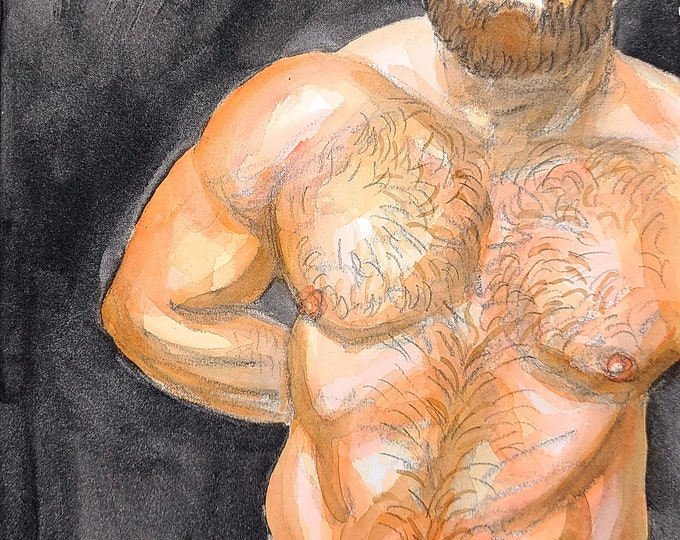 Shirtless Ginger Bear, 11x14 inches crayon and watercolor on cotton paper by Kenney Mencher in collaboration with Vincent Keith