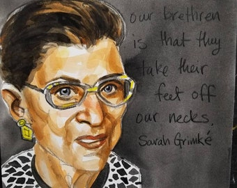Ruth Bader Ginsburg, 11x14 inches,  watercolor on cotton paper by Kenney Mencher