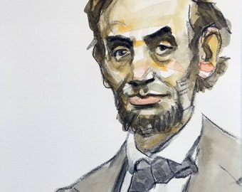 Abraham Lincoln, 11 x14 inches, watercolor and crayon on cotton paper by Kenney Mencher