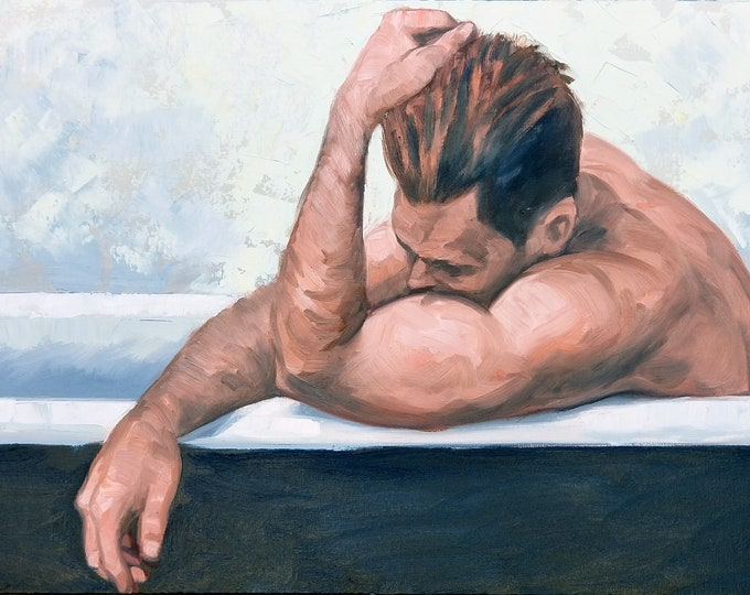 Bath, oil on canvas panel, 24x36 inches by Kenney Mencher