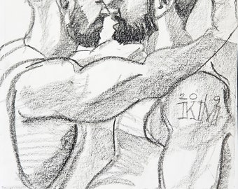 Two Otters with Nice Arms and Cool Haircuts about to Kiss, crayon on acid free sketchbook paper 9x12 inches by Kenney Mencher
