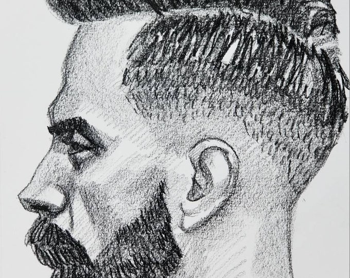 Profile of a Bearded Fade Otter, 9x12 inches, crayon on paper by Kenney Mencher