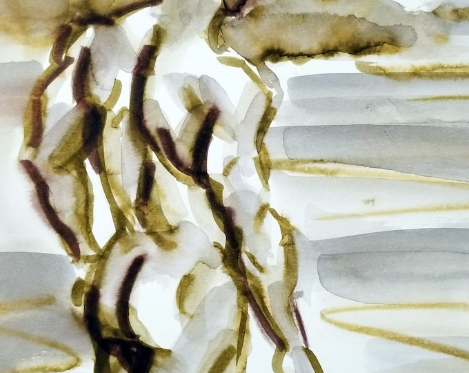 Wading Nude Male,  watercolor on paper, 9x12 inches by Kenney Mencher