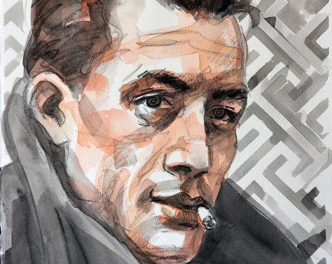 Albert Camus, 14x11 inches, watercolor and crayon on cotton paper by Kenney Mencher