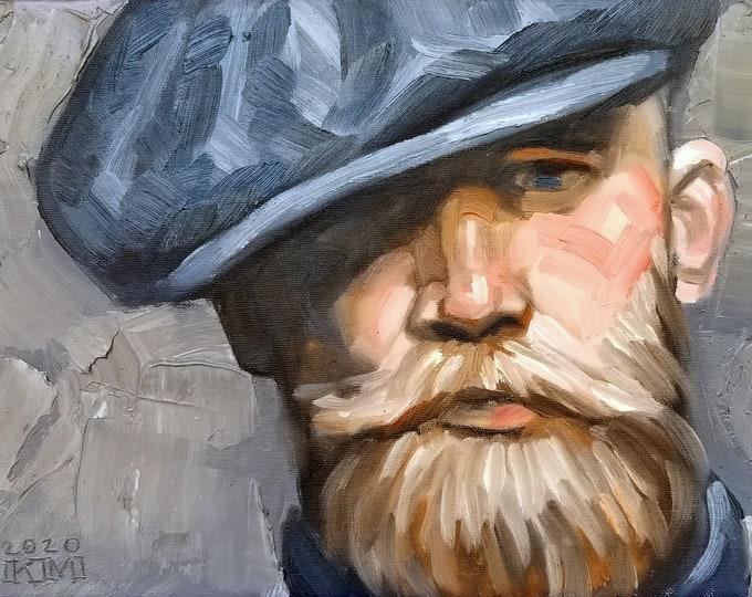 Poster Print, Flat Cap, Handlebar Mustache and a Beard, by Kenney Mencher