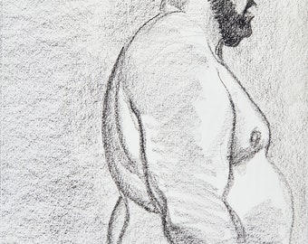 Middle Aged Bear about to Attack the Object of His Desire, crayon on acid free sketchbook paper 9x12 inches by Kenney Mencher