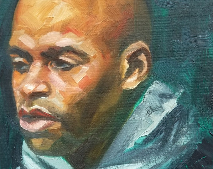 Scarf Wearing, Shaved Head, Black Man with an Intense Look, oil on canvas panel, 11x14 inches by Kenney Mencher