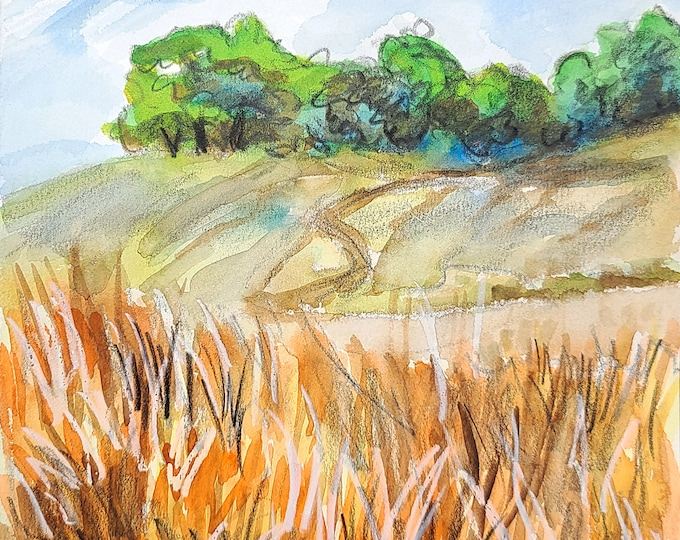 Mendocino County, 9x12 inches crayon and watercolor on cotton paper by Kenney Mencher