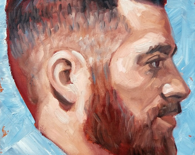 Otter in Profile with a Fade and a Beard, 12x16 inches oil on canvas panel by Kenney Mencher