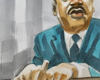Martin Luther King, 11 x14 inches, watercolor and crayon on cotton paper by Kenney Mencher